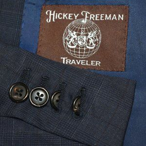 40L Hickey Freeman Blue with Maroon Plaid BLAZER